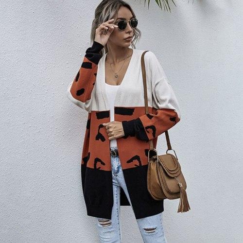Leopard Patchwork Knitted Cardigan Women 2020 Autumn Winter Woman New Sweaters Casual Long Sleeve Knitwear Cardigans Coat