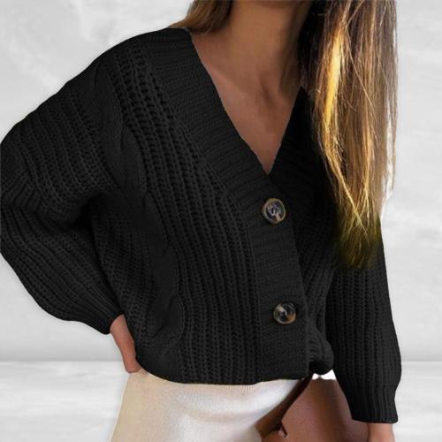 Women Fashion Casual lovelyShort Cardigan Twist Pattern V Neck Thick Thread Single-breasted Long Sleeve Sweater Streetwear Daily