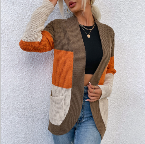 Autumn Winter Knitted Female Cardigan 2021 New Womens Long Sleeve Open Front Chunky Knit Cardigan Sweater Outwear With Pockets