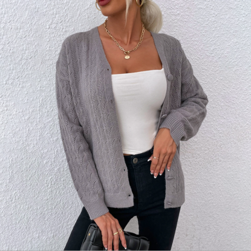 2021 Women Autumn Winter Sweater Crocheted Hollow Single-breasted Knitted Cardigan Women's Clothing  pull femme