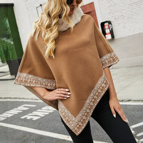 2021 autumn and winter new products cross-border women's European and American fur collar cape shawl jacket