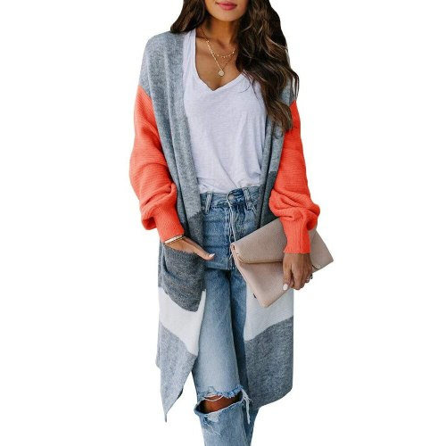 Contrasting Color Cardigan Sweater Women Irregular Color Matching Knitted Cardigan Autumn Winter New Long Lantern Sleeve