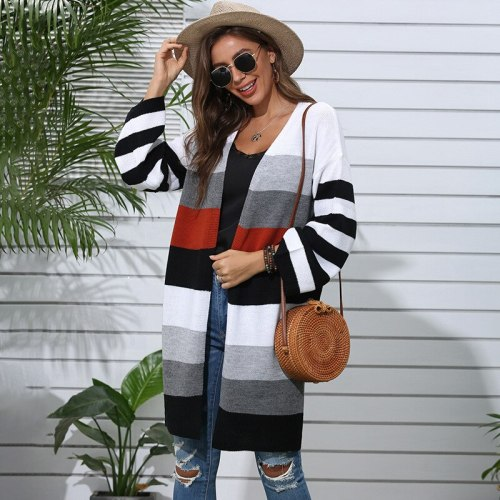 Autumn Winter Fashion Long Striped Knitted Cardigans Sweater Women 2021 New V-neck Casual Long Sleeve Sweater Coat