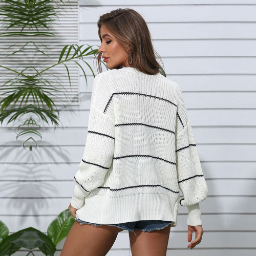 Autumn Winter Fashion Striped Knitted Cardigans Sweater Women 2021 New V-neck Casual Open Stitch Long Sleeve Sweater Top