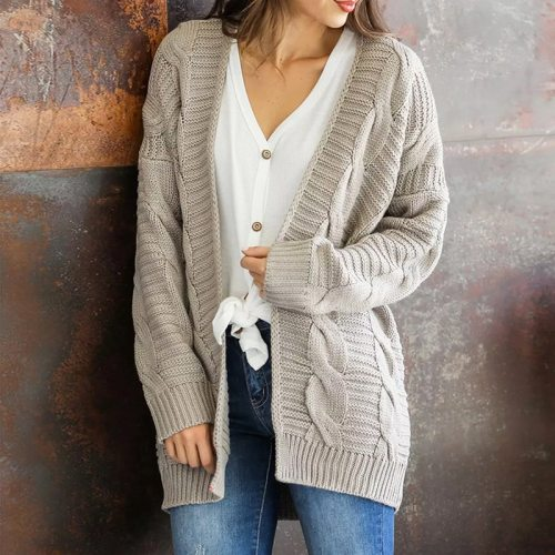 Autumn Winter Kniting Oversized Cardigan Women Twist Solid Casual Plus Size Knitted Cardigan Pull Femme Outerwear 3xl