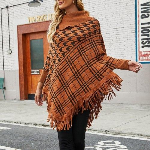 2021 autumn and winter new European and American shawl cloak sweater sweater half open collar tassel hem coat