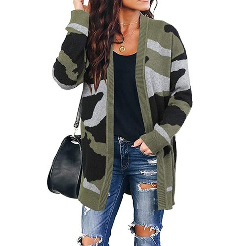 2021 Camouflage Cardigans Sweater Women New Spring Autumn Casual V-Neck Army Green Apricot Fashion Long Knitted Sweater