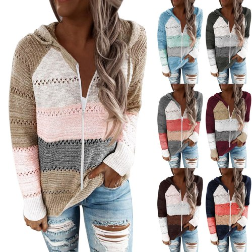 2021 Autumn Winter Sweater Women Striped Stitching Cardigan Zip Hooded Knit Sweatshirt Weaters for Women Fashion Loose Cardigans