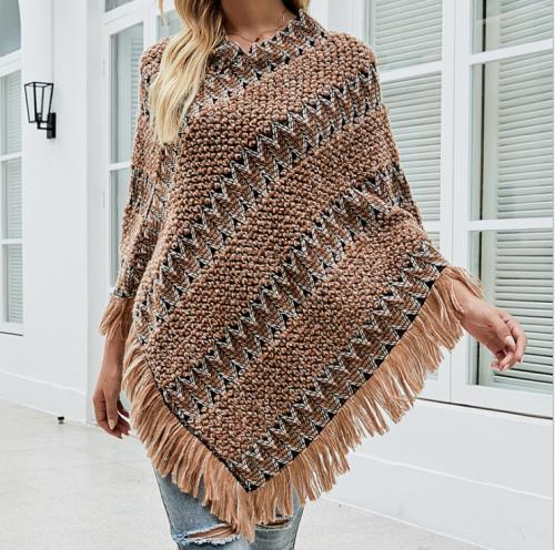 Pull Femme 2021 Winter New Style V Neck Bohemian Cloak Sweater Casual Loose Stripe Tassel Oversized Poncho Women's Coat