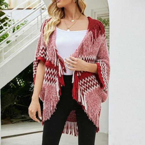 2021 Women's Geometric Cloak Tassel Shawl Knitted Cardigan Autumn Coat Scarf Jacket Coat Casual