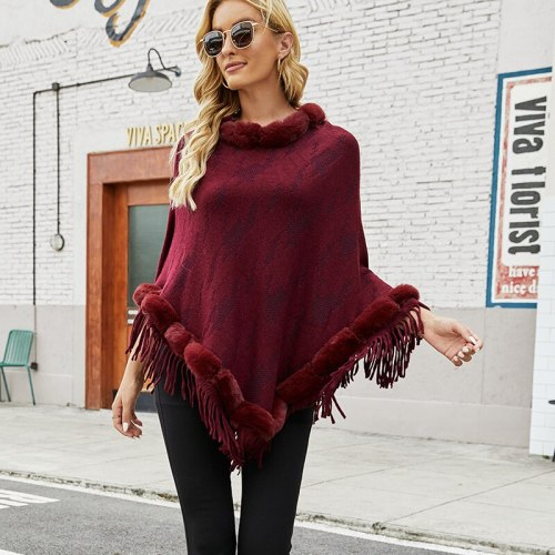 Womens Elegant Fur Knitted Shawl Poncho with Tassel Fringed Round Neck Loose Sweater Pullover Cape Gifts for Female Winter Coat