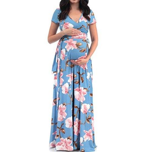Maternity Dresses V-neck Short-sleeve Belt Flower Printed Maternity Dress For Women Ladies Fashion Summer Pregnancy Dress