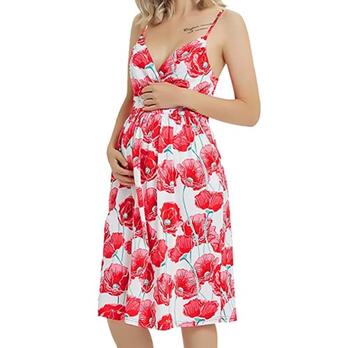Flower Breastfeeding Dresses Maternity Clothes for Pregnant Women Clothing Solid V-neck Pregnancy Dresses Mother Wear