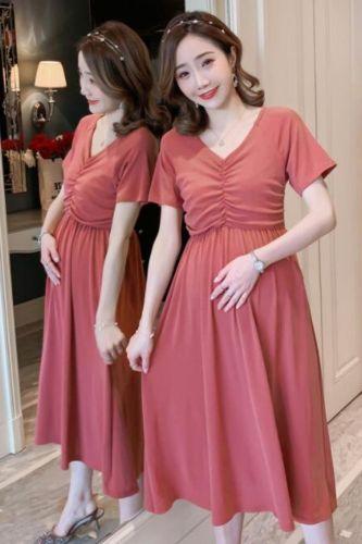 2021 New Arrive Summer Maternity Dress Woman Fashion V-Neck Large Size Dresses Pregnant Woman Clothing