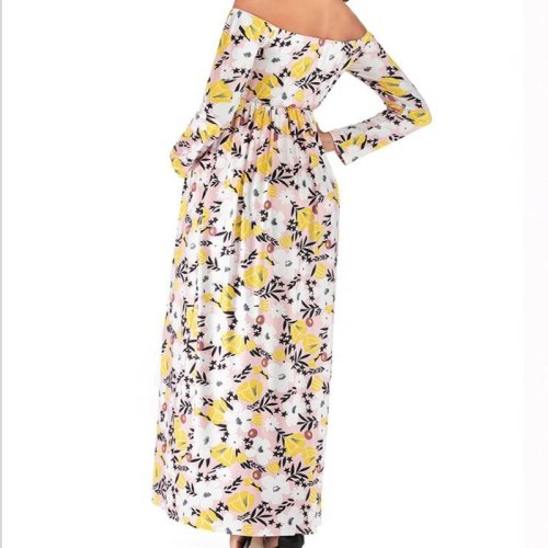 2021 new print one neck long sleeve maternity long dress