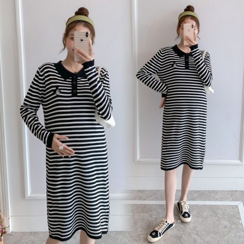 Autumn Striped Black Knitted Maternity Dress Long Sleeve Slim Feeding Clothes for Pregnant Women Pregnancy Clothing