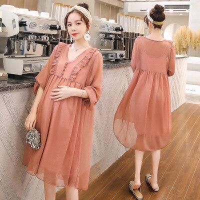 Two-piece net red fashion spring summer Korean maternity dress elegant chiffon dress super fairy maternity dress