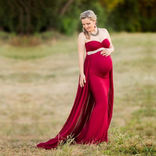 Maternity Dresses For Photo Shooting Red Pregnancy Maternity Photography Props Sleeveless Party Formal Evening Dress Vestidos