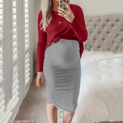 Autumn clothes for pregnant women maternity dresses O-Neck Long Sleeve Solid Tops Skirt Sexy Set pregnancy dress