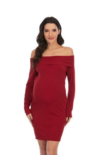 Maternity Dress Casual Solid Color One-shoulder Long-sleeved Dress for Pregnant Women Clothes Photography Sexy