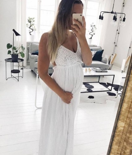 Maternity Casual V-Neck Sleeveless Solid Color Dress