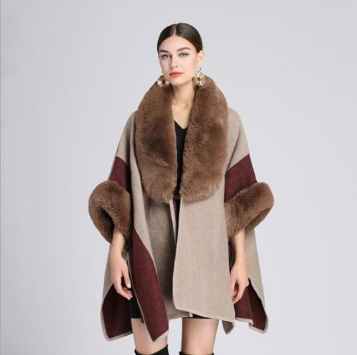 2021 Fashion Solid Cloak Knitted Shawl Women Capa Grande Big Faux Fox Fur Trim Collar Loose Long Batwing Sleeves Poncho Cape