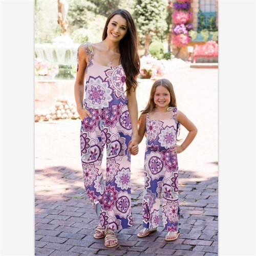 Family Matching Outfits 2021 Summer New Printed Suspender Jumpsuit Mother Daughter Parent Child Wear Kids Baby Girl Home Clothes