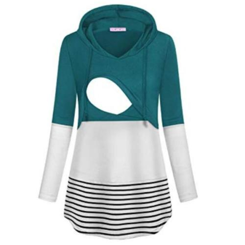 Women's Maternity Breastfeeding Hoodie T-Shirt Winter O-Neck Solid Long Sleeve Striped Nursing Tops Clothes For Pregnant Women