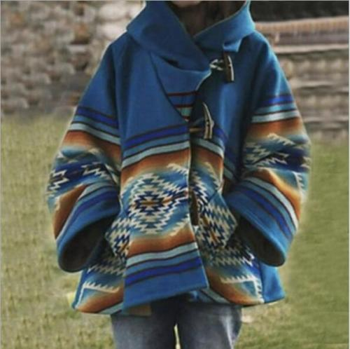 Autumn Winter Women Coat Loose Hooded printed jacket women British style Fashion Overcoat female