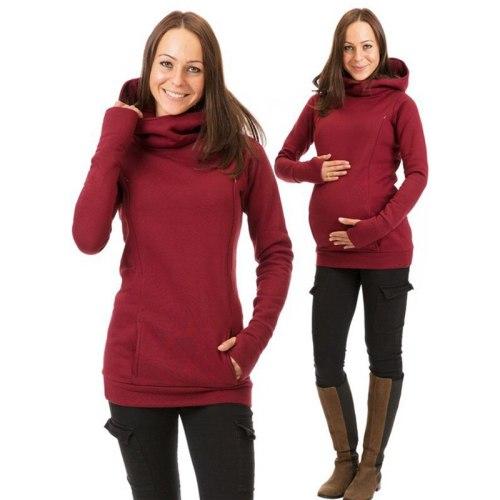 Maternity Sweatshirt Women Nursing Maternity Long Sleeves Hooded Breastfeeding Hoodies Autumn And Winter Pregnant Hooded Sweater