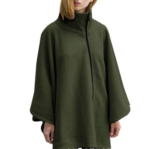 Capes Ponchos Women High Neck Bat Sleeve Zipper Causal Jacket Women 2021 Celmia Winter Loose Vintage Cloaks Female