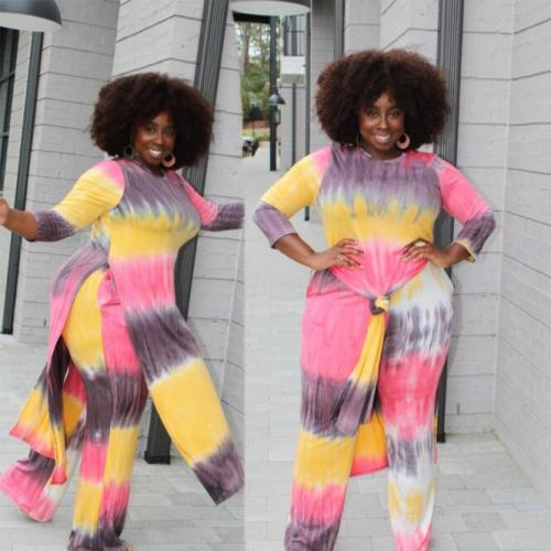 Plus Size Women Clothing Two Piece Set Dropshipping Fall Outfits Long Sleeve Tops and Pant Suit Casual Tie Dye Sets Wholesale