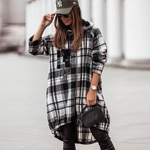 2021 Spring Plaid Print Zipper Hooded Overcoat Women Casual Long Sleeve Street Jacket Coat Autumn Retro Office Long Top Cardigan