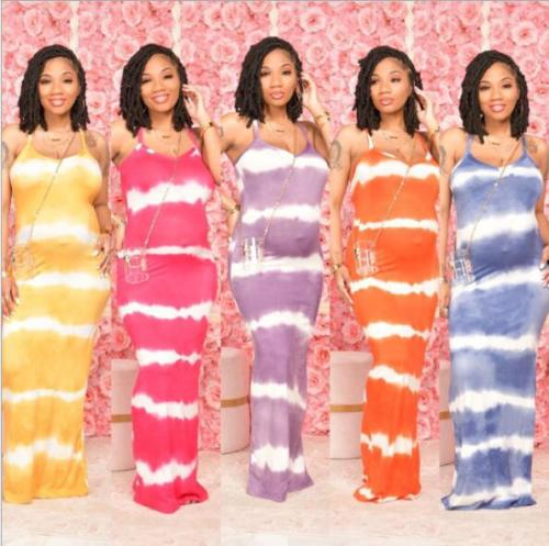 Women Tie Dye Print V-neck Long Dress for Active Fashion Slim Spaghetti Strap Open Back Holiday Maxi Dresses Outfits