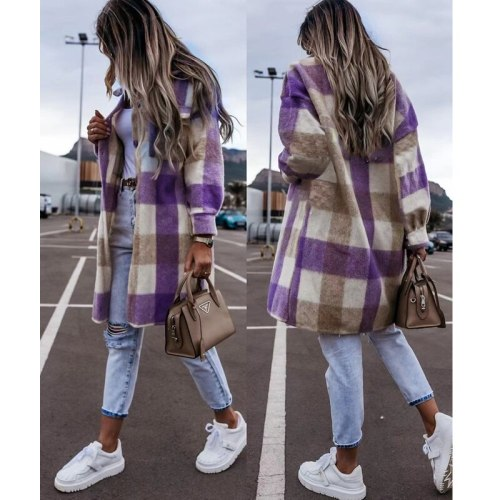 Plaid Jacket Women Fall Fashion Long Sleeve Lapel Streetwear Coats Single breasted pockets jackets