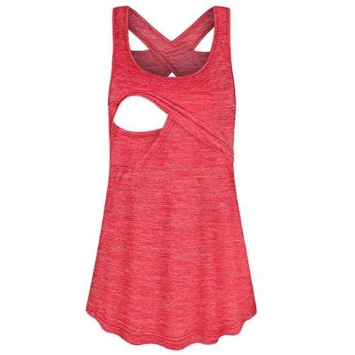 Womens Pregnant Plus Size Tees Maternity Clothings Nursing Tops Breastfeeding T-Shirt Pregnancy Sleeveless Casual Tank Tops