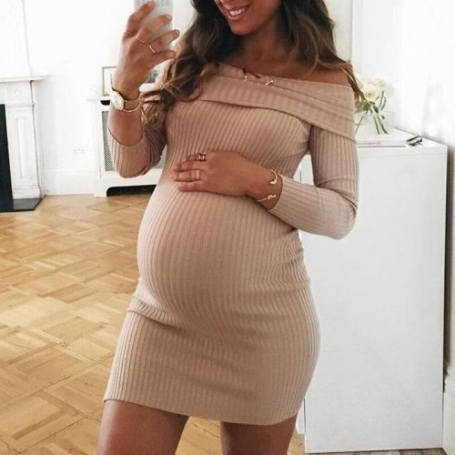 Maternity Dress for Pregnant Women Clothes Casual Solid Color One-shoulder Long-sleeved Dress Photography Sexy Skinny Vestidos