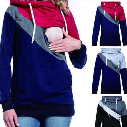Maternity Nursing Sweater Maternity Clothes Clothes for Nursing Mothers Stitching Hoodie Plus Size Clothes for Pregnant Women