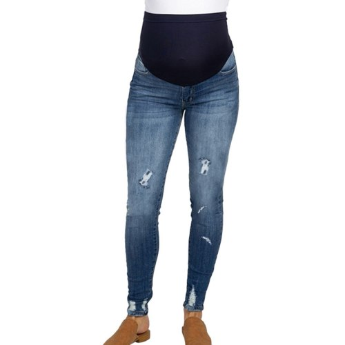 Women Pregnancy Clothes Solid Color Hole High Jeans Flares Ankle Fashion for Pregnant Pants Trouser jeans For Maternity Pants