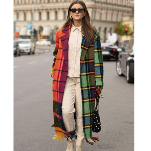 Autumn Women Coat Artificial Woollen Fabric Long Jacket Hooded Color Contrast Plaid Fashion Streetwear Za Trench Ladies Overcoat