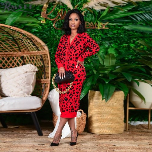 2021 Large Women's Long Sleeve V-Neck Single Breasted Knitted Print Slim Leopard Print Autumn Winter Long Coat