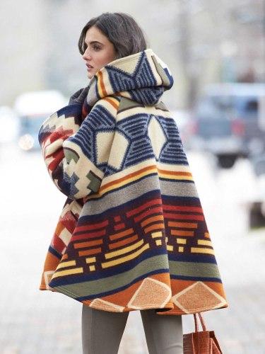 Women's Winter New Korean style Warm  Hoodie Cloak Coat patchwork color Drop-Shoulder Sleeve Wool Cape Outerwear