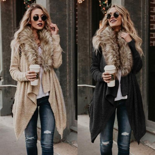 New Fashion Spring Autumn Large Wool Collar Cardigan Wool Windbreaker Coat Cardigan Trench Coat for Women Clothes
