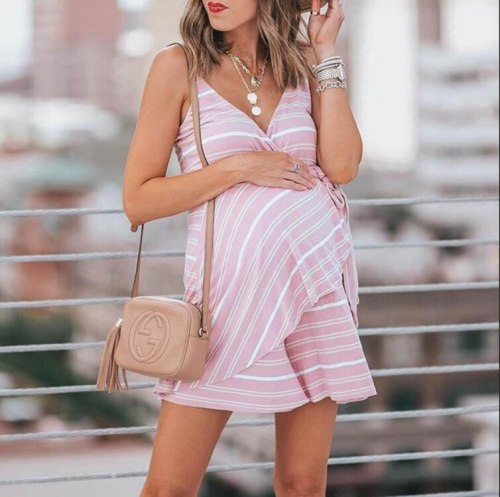 Fashion hipster summer new maternity dress fashion hot Europe and America with V-neck striped straps jumpsuit skirt