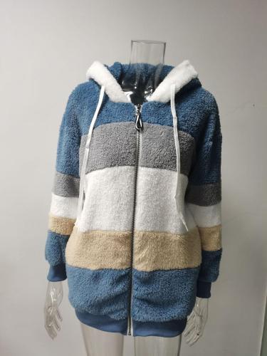 5XL Plus Size Women's Winter Coat Oversized Fashion Casual Stitching Plaid Clothes Hooded Zipper Ladies Lamb Hair Coat Korean