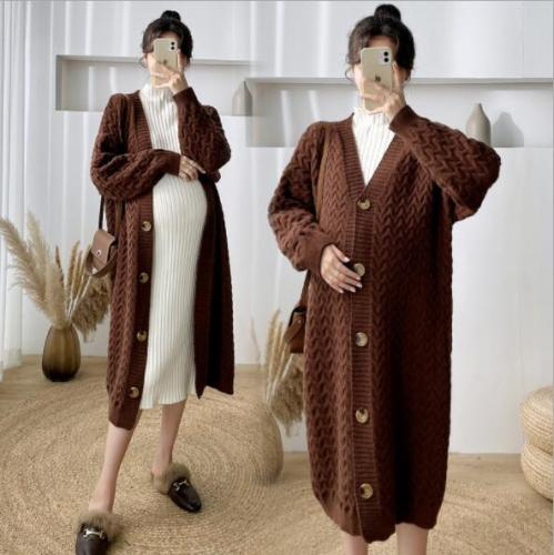 Autumn and Winter Women Long Sweeater Jacket Thick Loose Wild Single-breasted Knitted Cardgian Coat