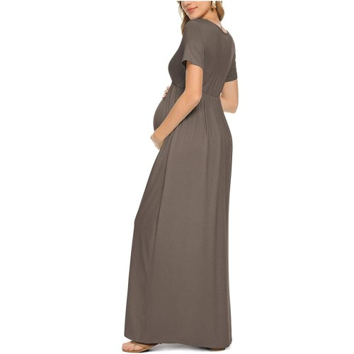 Summer Women Pregnant Maternity Nursing Solid Dress Pregnancy V Collar Short Sleeve Dress Maternity Lady's Sundress Clothes