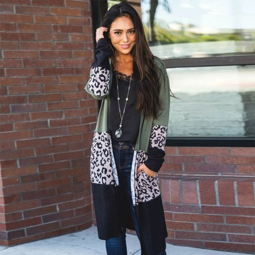 European and American Women's Sweater Coat Leopard Splicing Street Fashion Girls' Middle School Long-Sleeved Sweaters