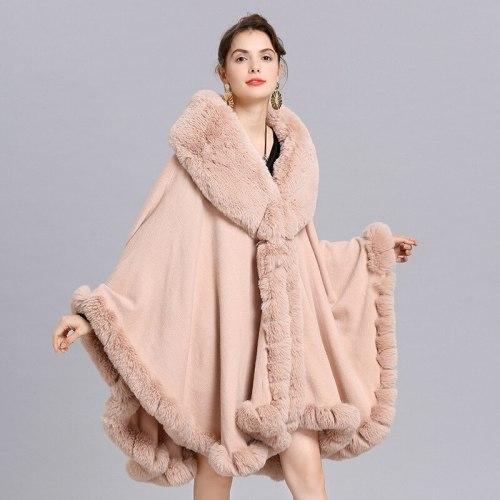 Elegant V Lapel Rex Rabbit Fur Coat Cape Winter Women Big Long Shawl Full Trim Faux Fur Cashmere Cloak Overcoat Parka 2021 New