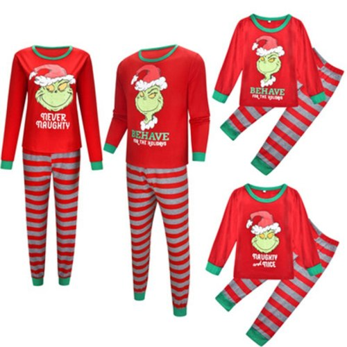 Family Christmas Pajamas Set Parent-child Cartoon Print Sleepwear Mom Dad Me Home Wear Family Matching Clothes Family Outfits